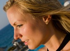 Free Blonde Female Looking Into Sun In Resort Stock Images - 7865094