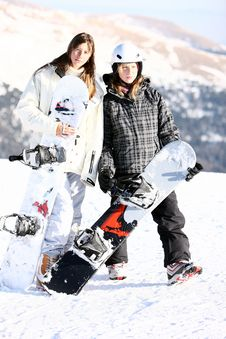 Free Two Girls With Snowboards Royalty Free Stock Image - 7867206