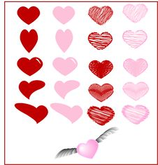 Lots Of Red And Pink Hearts On A White Background. Royalty Free Stock Image