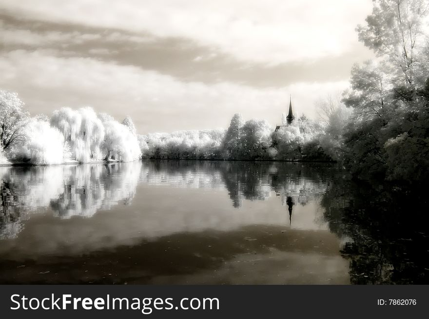 Reflex on the lake infrared