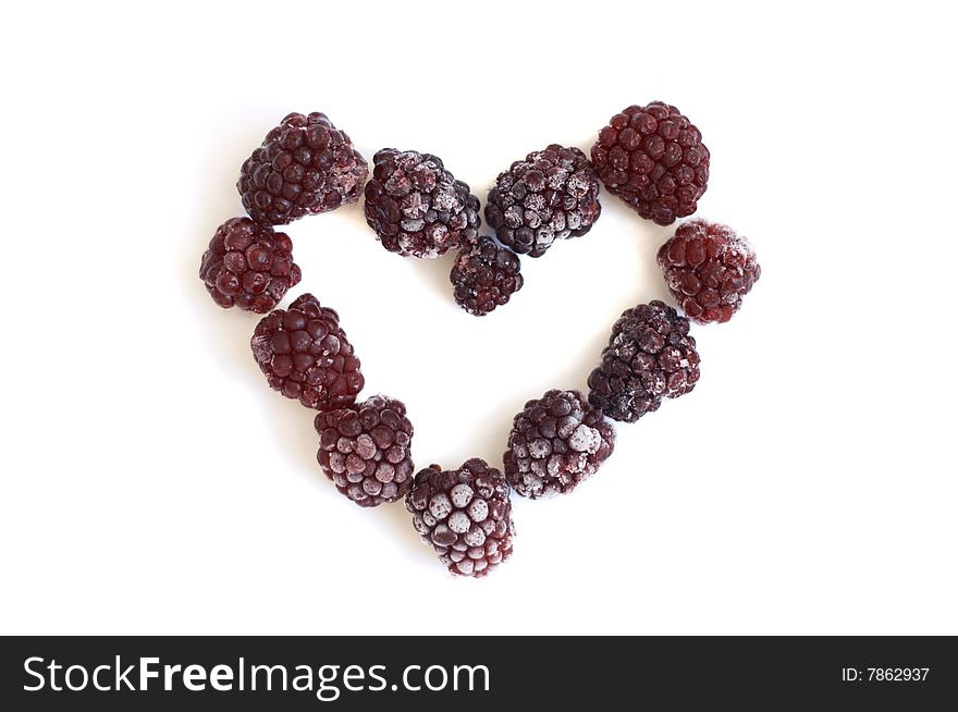Heart from the frozen blackberry
