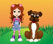 Free Girl And Dog Stock Images - 78622914