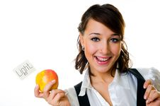 Free Smiling Girl With Apple Stock Photography - 7873052