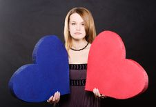 Free Pretty Girl Portrait With Two Hearts Stock Photography - 7873542