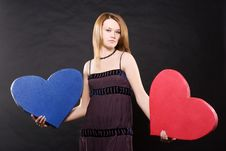 Free Pretty Girl In Dress Dancing With Two Hearts Royalty Free Stock Photography - 7873557