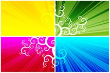 Free Floral Pattern On Color Background Stock Images - 7873804