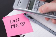 Free CALL ME Message On Pink Postit Note Stock Photos - 7874013
