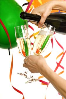 Party With Champagne And Carnival Decoration Stock Photos