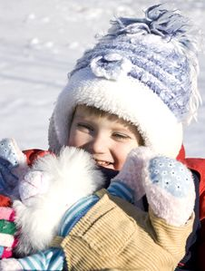 Free Cute Little Girl On The Snow Stock Photos - 7875143
