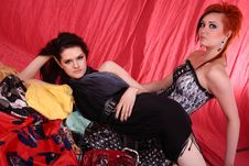 Free Two Models In Colorful Setting In The Studio Stock Image - 7876301