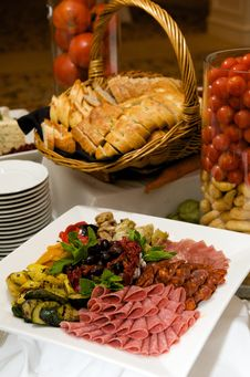 Gourmet Plate Of Meats And Olives Stock Images