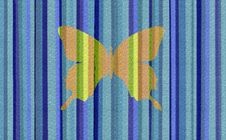 Blue Stripes With Butterfly Royalty Free Stock Image