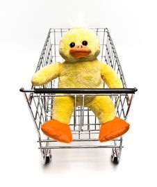 Free Stuffed Duck In Cart Stock Images - 7877954