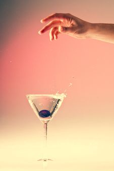 Hand Drop And Splash Water Stock Photo