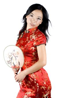 Free Asian Girl With Fan Royalty Free Stock Images - 7878359