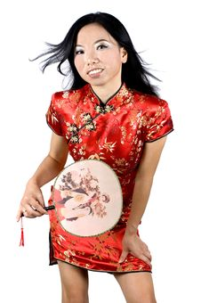 Free Chinese Girl Holding Small Fan Royalty Free Stock Photo - 7878425
