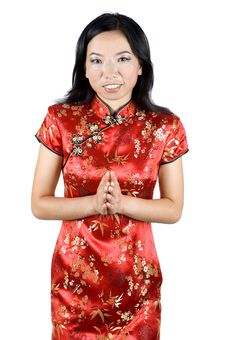 Free Chinese Girl Sending Wishes For New Year Stock Photo - 7878480