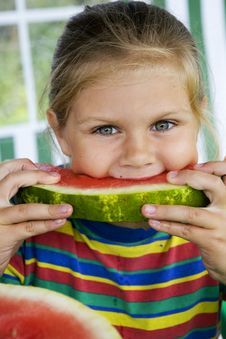 Free Girl With Watermelon Stock Photo - 7878780
