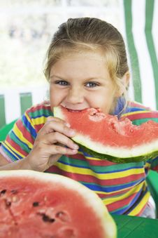 Girl With Watermelon Royalty Free Stock Photos