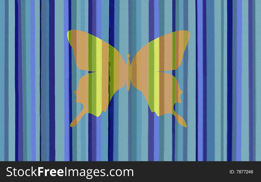 Blue Stripes with Butterfly