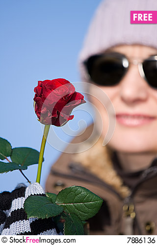 Free Woman With Red Rose Royalty Free Stock Image - 7886136