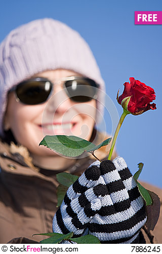 Free Woman With Red Rose Royalty Free Stock Photo - 7886245