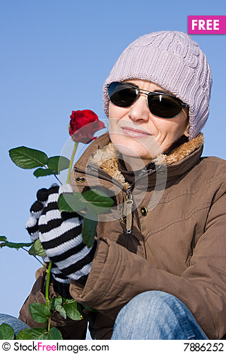 Free Woman With Red Rose Stock Photography - 7886252