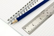Free Pencil And Ruler On The Blank Spiral Notepad Royalty Free Stock Images - 7880349