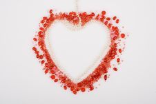 Red Heart Made With Beads And Pearls Royalty Free Stock Photography