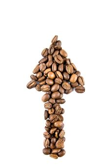Free Arrow  From Coffee Beans Isolated On White Stock Photo - 7880770