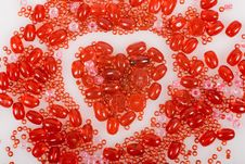 Heart Made With Red Beads Stock Image