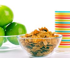 Free Cornflakes, Glass Of Milk And Green Apples Stock Images - 7881004