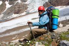Backpacker Girl With Ice-axe