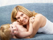 Free Portrait Of Mum With The Son Stock Image - 7883801