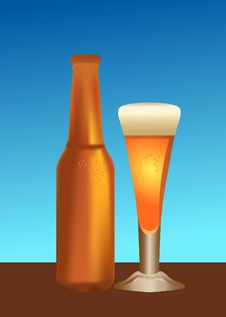 Free Beer Bottle And Glass Royalty Free Stock Photography - 7884807