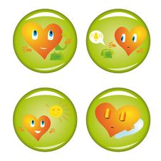 Free Set Of Four St. Valentine Buttons Royalty Free Stock Photography - 7885707