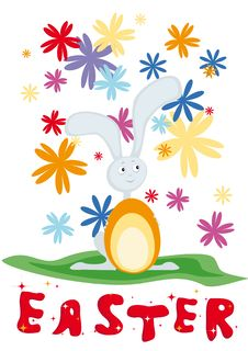 Card For Easter With  Rabbit