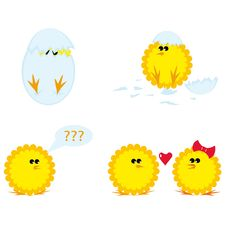 Free Set Of Cartoon Chickens Stock Image - 7885911