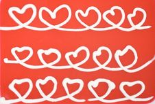 Free White Hearts On Red Background Stock Photo - 7885990