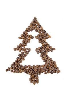 Free Fir-tree From Coffee Beans Isolated On White Stock Photography - 7888042