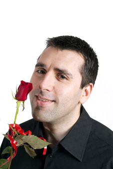 Free Man With A Rose Smiling Royalty Free Stock Photo - 7888205
