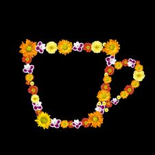 Free Decorative Cup Symbol From Color Flowers Royalty Free Stock Images - 7888449