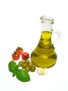 Olive Oil And Vegetable Royalty Free Stock Images