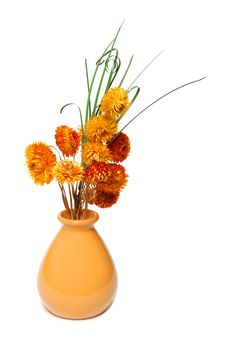 Free Ceramics Vase With Dried-up Flowers Royalty Free Stock Images - 7888639