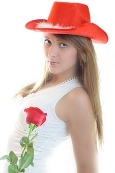Free Woman With Rose Stock Photography - 7888822