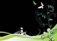 Vector Illustration Of Fairy At Night Royalty Free Stock Photo