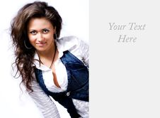 Free One Beautiful Woman With Blank Sign Card Stock Image - 7889421