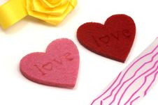 Free Hearts And Colours Ribbons Stock Photography - 7889572