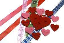Free Hearts And Colours Ribbons Stock Image - 7889701