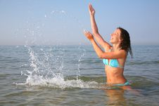 Free Young Woman Splashing In Sea Royalty Free Stock Photo - 7889775